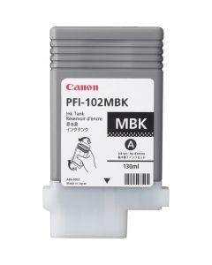 Cartouche (PFI102MBK) pour Canon IPF 500/600/605/610/700/710 : Noir Mat - 130ml