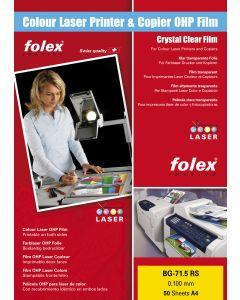 Film FOLEX BG71.5rs Transparent Retropro TOP STRIP Laser 100µ, A4 50 feuilles