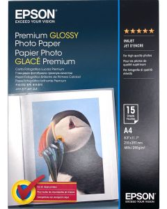 Papier Epson Photo Premium Glacé 255g,  A4 15 feuilles