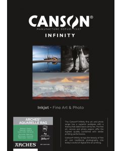 Papier CANSON INFINITY Arches® Aquarelle Rag 310g A4 25 feuilles