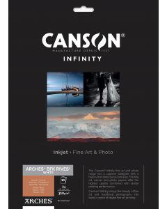 Papier CANSON INFINITY Arches® BFK Rives Blanc 310g A4 10 feuilles