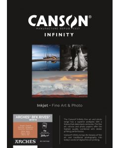 Papier CANSON INFINITY Arches® BFK Rives Blanc 310g A4 25 feuilles