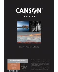 Papier CANSON INFINITY Arches® BFK Rives Blanc 310g A3+ 25 feuilles