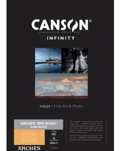 Papier CANSON INFINITY Arches® BFK Rives Pure White 310g A3 25 feuilles