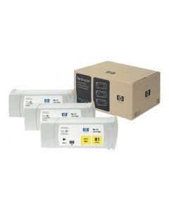 Cartouche C5069A (n°81) pour HP DesignJet Série 5000/5500 Jaune 3-pack - 3 x. 680 ml