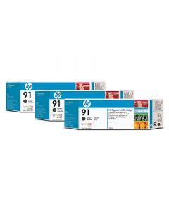 Cartouche C9480A (n°91) pour HP DesignJet Z6100 :  Tripack Vivera Noir Mat - 775ml