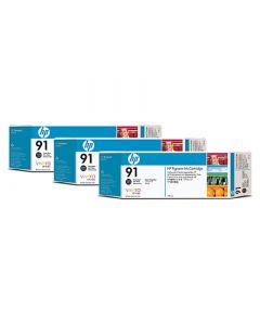 Cartouche C9481A (n°91) pour HP DesignJet Z6100 :  Tripack Vivera Noir Photo - 775ml