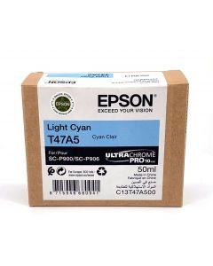 Cartouche d'encre Epson (50ml) pour SureColor P900 : Cyan Clair - C13T47A500