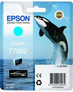 Encre Epson T7602 (Orque) pour SureColor P600 : Cyan (C13T76024010)