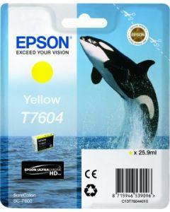 Encre Epson T7604 (Orque) pour SureColor P600 : Jaune (C13T76044010)