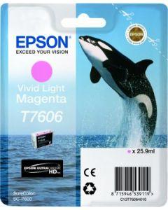 Encre Epson T7606 (Orque) pour SureColor P600 : Vivid Magenta Clair (C13T76064010)