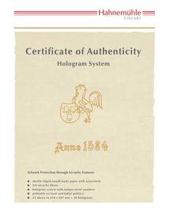 Certificat Hahnemühle format A4 - 25 feuilles  (50 hologrammes)