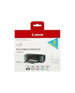 Multipack de 5 cartouches Couleur Canon PGI-72 pour Pixma Pro 10S (PBK/GY/PM/PC/CO)