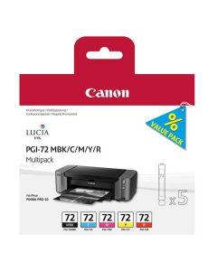 Multipack de 5 cartouches Couleur Canon PGI-72 pour Pixma Pro 10S (MBK/C/M/Y/R)