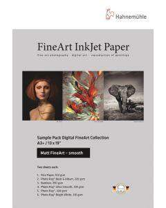 Hahnemühle Sample Pack : Pochette d'échantillons : Matt Fine Art Lisse, A3+, (12 feuilles / 6 papiers)