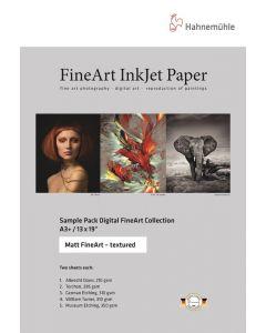 Hahnemühle Sample Pack : Pochette d'échantillons : Matt Fine Art Texturé, A3+ (10 feuilles / 5 papiers)