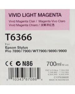 EPSON T6366 (C13T636600) - Cartouche d'encre Vivid Magenta Clair - 700ml