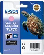 Encre Epson T1576 (Tortue) pour Stylus Photo R3000 : vivid magenta clair (C13T15764010)