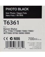 EPSON T6361 (C13T636100) - Cartouche d'encre Noir Photo - 700ml